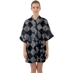 Square2 Black Marble & Gray Denim Quarter Sleeve Kimono Robe