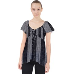 Stripes1 Black Marble & Gray Denim Lace Front Dolly Top by trendistuff