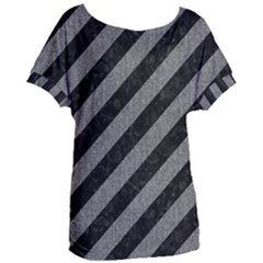Stripes3 Black Marble & Gray Denim (r) Women s Oversized Tee