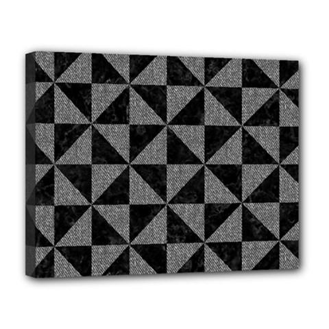 Triangle1 Black Marble & Gray Denim Canvas 14  X 11  by trendistuff