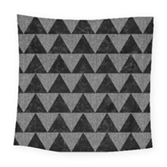 Triangle2 Black Marble & Gray Denim Square Tapestry (large) by trendistuff