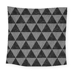 Triangle3 Black Marble & Gray Denim Square Tapestry (large) by trendistuff
