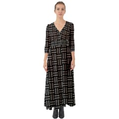 Woven1 Black Marble & Gray Denim (r) Button Up Boho Maxi Dress