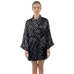 Woven2 Black Marble & Gray Denim (r) Long Sleeve Kimono Robe