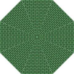 Brick1 Black Marble & Green Denim Straight Umbrellas by trendistuff