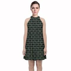 Brick1 Black Marble & Green Denim (r) Velvet Halter Neckline Dress