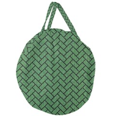 Brick2 Black Marble & Green Denim Giant Round Zipper Tote by trendistuff