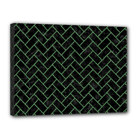 Brick2 Black Marble & Green Denim (r) Canvas 16  X 12  by trendistuff