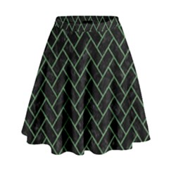 Brick2 Black Marble & Green Denim (r) High Waist Skirt by trendistuff