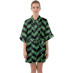 Chevron1 Black Marble & Green Denim Quarter Sleeve Kimono Robe