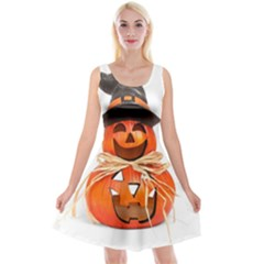 Funny Halloween Pumpkins Reversible Velvet Sleeveless Dress by gothicandhalloweenstore