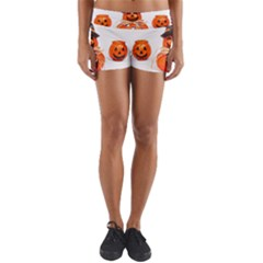 Funny Halloween Pumpkins Yoga Shorts by gothicandhalloweenstore