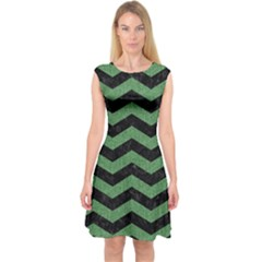 Chevron3 Black Marble & Green Denim Capsleeve Midi Dress