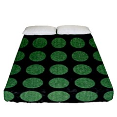 Circles1 Black Marble & Green Denim (r) Fitted Sheet (queen Size) by trendistuff