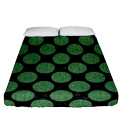Circles2 Black Marble & Green Denim (r) Fitted Sheet (queen Size) by trendistuff