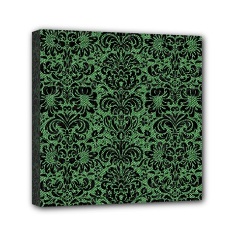 Damask2 Black Marble & Green Denim Mini Canvas 6  X 6  by trendistuff