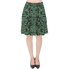 Damask2 Black Marble & Green Denim (r) Velvet High Waist Skirt by trendistuff