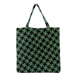 Houndstooth2 Black Marble & Green Denim Grocery Tote Bag by trendistuff