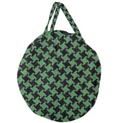 Houndstooth2 Black Marble & Green Denim Giant Round Zipper Tote by trendistuff