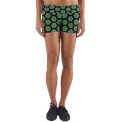 Hexagon2 Black Marble & Green Denim Yoga Shorts