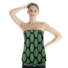 Hexagon2 Black Marble & Green Denim Strapless Top