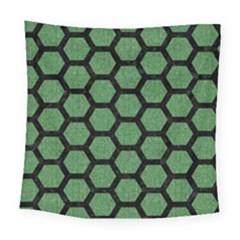 Hexagon2 Black Marble & Green Denim Square Tapestry (large) by trendistuff