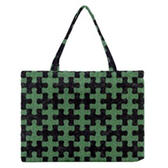Puzzle1 Black Marble & Green Denim Zipper Medium Tote Bag
