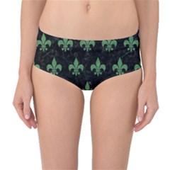 Royal1 Black Marble & Green Denim Mid Waist Bikini Bottoms