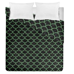 Scales1 Black Marble & Green Denim (r) Duvet Cover Double Side (queen Size) by trendistuff