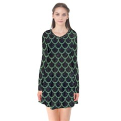 Scales1 Black Marble & Green Denim (r) Flare Dress