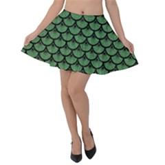 Scales3 Black Marble & Green Denim Velvet Skater Skirt