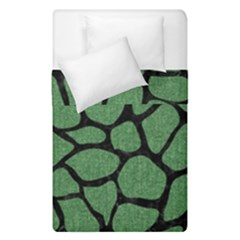 Skin1 Black Marble & Green Denim (r) Duvet Cover Double Side (single Size) by trendistuff