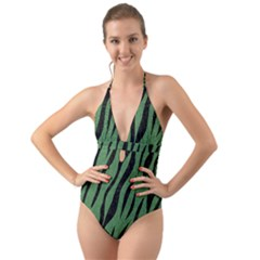Skin3 Black Marble & Green Denim Halter Cut Out One Piece Swimsuit
