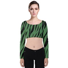Skin3 Black Marble & Green Denim Velvet Long Sleeve Crop Top