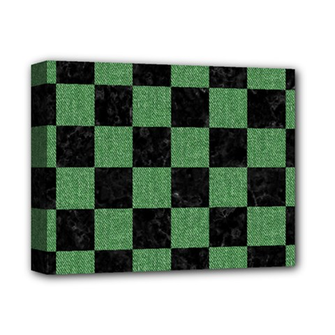 Square1 Black Marble & Green Denim Deluxe Canvas 14  X 11  by trendistuff