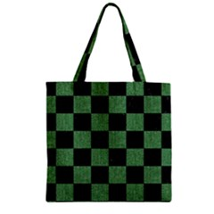 Square1 Black Marble & Green Denim Zipper Grocery Tote Bag by trendistuff