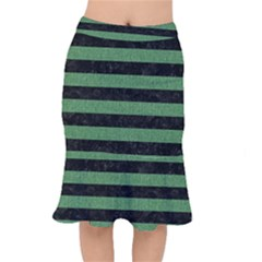 Stripes2 Black Marble & Green Denim Mermaid Skirt by trendistuff