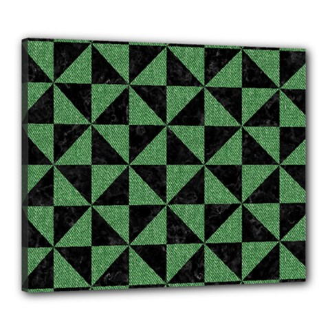 Triangle1 Black Marble & Green Denim Canvas 24  X 20  by trendistuff