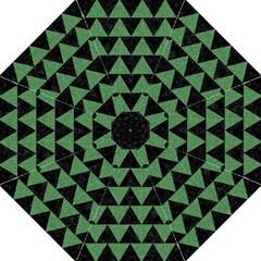 Triangle2 Black Marble & Green Denim Hook Handle Umbrellas (large) by trendistuff