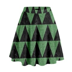 Triangle2 Black Marble & Green Denim High Waist Skirt by trendistuff