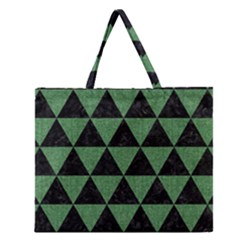 Triangle3 Black Marble & Green Denim Zipper Large Tote Bag by trendistuff