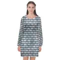 Brick1 Black Marble & Ice Crystals Long Sleeve Chiffon Shift Dress