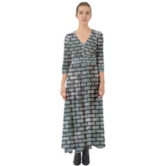 Brick1 Black Marble & Ice Crystals Button Up Boho Maxi Dress