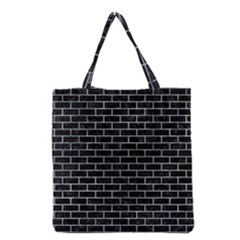 Brick1 Black Marble & Ice Crystals (r) Grocery Tote Bag by trendistuff
