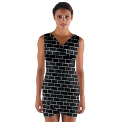 Brick1 Black Marble & Ice Crystals (r) Wrap Front Bodycon Dress