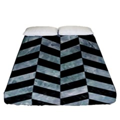 Chevron1 Black Marble & Ice Crystals Fitted Sheet (queen Size) by trendistuff