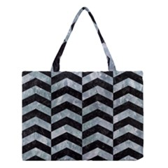Chevron2 Black Marble & Ice Crystals Medium Tote Bag