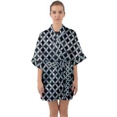Circles3 Black Marble & Ice Crystals (r) Quarter Sleeve Kimono Robe