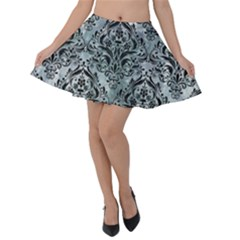 Damask1 Black Marble & Ice Crystals Velvet Skater Skirt