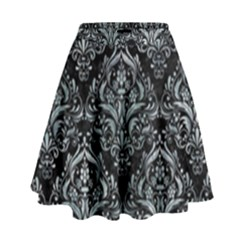 Damask1 Black Marble & Ice Crystals (r) High Waist Skirt by trendistuff